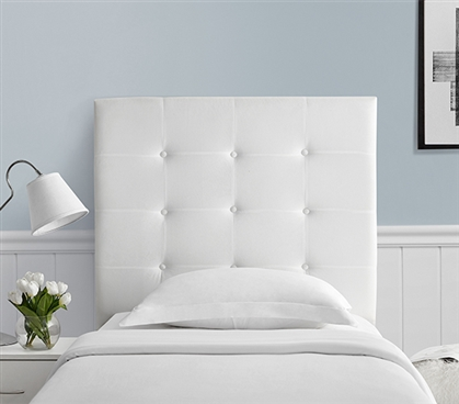 Villa Classic - Tufted - Plush College Dorm Headboard - White