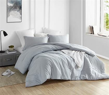 Natural Loft Twin XL Comforter - Yarn Dyed Blue