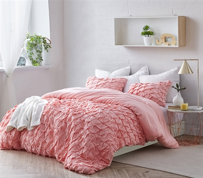 Layered Pleats Twin XL Duvet Cover - Strawberry Quartz