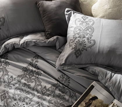 Baroque Stitch Styled Sham - Alloy/Pewter Embroidery