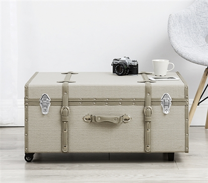 The Sorority College Trunk - Taupe Gray Stripe