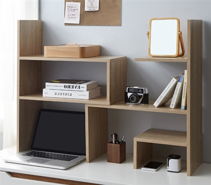 Yak About It Compact Adjustable Dorm Desk Bookshelf - Sonoma