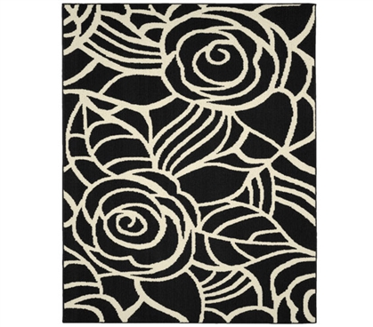 Rhapsody Dorm Rug - Black and Ivory