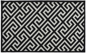 greek key rug black u0026 silver