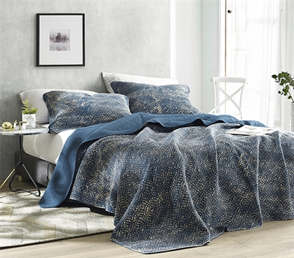 Filter Stone Washed Cotton Quilt - Nightfall Navy - Twin XL - 2019