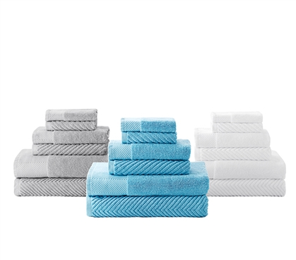 Quick Dry College Towel Set - 6 Piece 100% Cotton