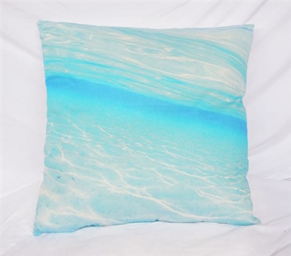 Crystal Clear - Blue - Cotton Throw Pillow
