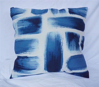 Brushstrokes - Nightfall Navy - Cotton Throw Pillow