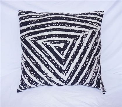 Spiral Triangle - Black - Cotton Throw Pillow