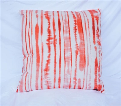 Ink Blot Lines - Fusion Coral - Cotton Throw Pillow