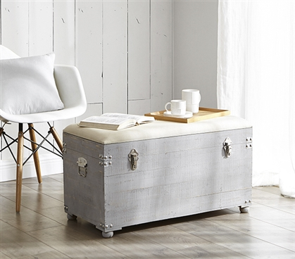 Central Style Cushion Seater Trunk - Light Gray with Natural Cushion