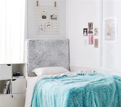 University Transitional Cushioned Dorm Headboard - Are You Kidding - Frosted Gray