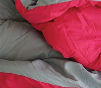 Gray/Cherry Pink Reversible College Comforter - Twin XL