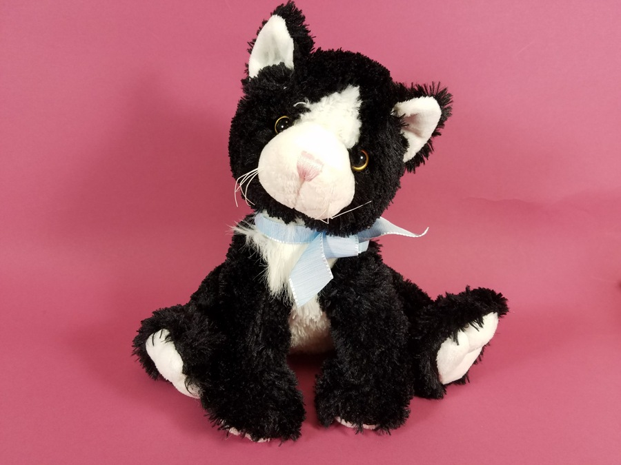 Plush Sitting Cat - Black & White