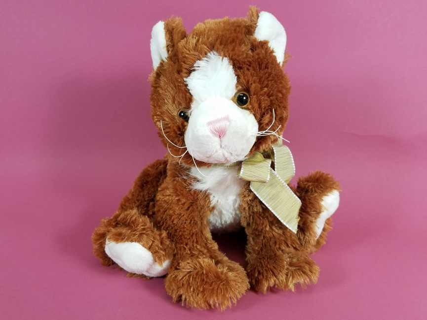 Plush Sitting Cat - Brown & White