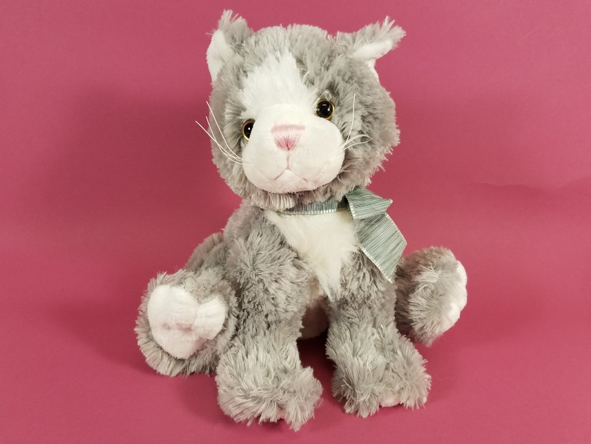 Plush Sitting Cat - Gray & White