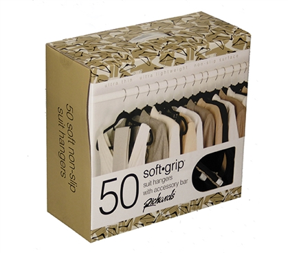 Ultra Thin Soft Grip Hangers - Black - Box of 50