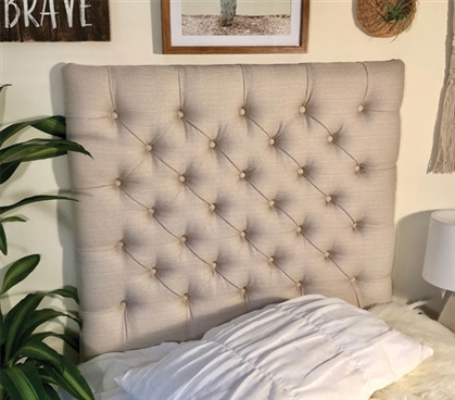 Linen Natural Tufted College Headboard