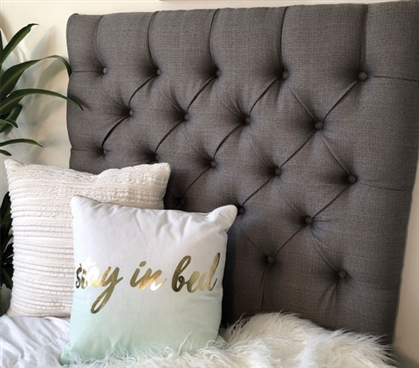 Linen Grey Tufted College Headboard
