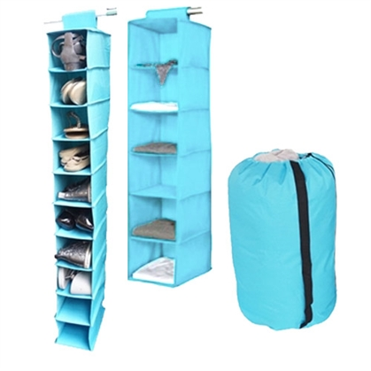 TUSK 3-Piece College Closet Set - Aqua (Hanging Shoe Version)
