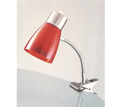 Aglow Dorm Clip Lamp - Red